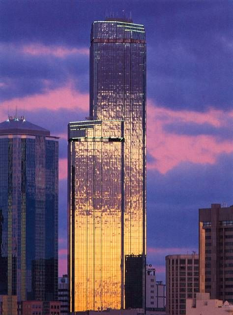 Tash's favourite building at sunset when it's purple