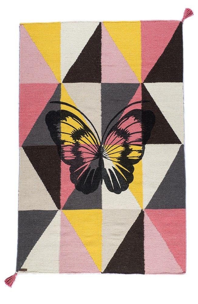 Tapis Papillon Arlequin. Tapis kilim tissé à main.