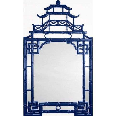 THE WELL APPOINTED HOUSE - Luxury Home Decor- Navy Lacquer Pagoda Wall Mirror - Mirrors - Decorative from www.wellappointedhouse.com #homedecor #decorate #mirrors