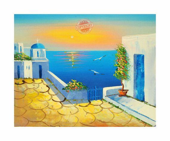 Santorini 7-Oil Painting,Original Painting on Canvas,Palette Knife,LandscapePainting,Santorini Greece,Modern Painting on canvas,Textured Oil
