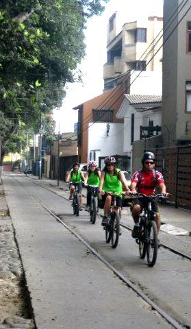 Biking in Lima on our Coast Biking tour