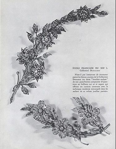 19th century floral brooches from the collection of Dusausoy. Photo from a 1947 magazine article.
