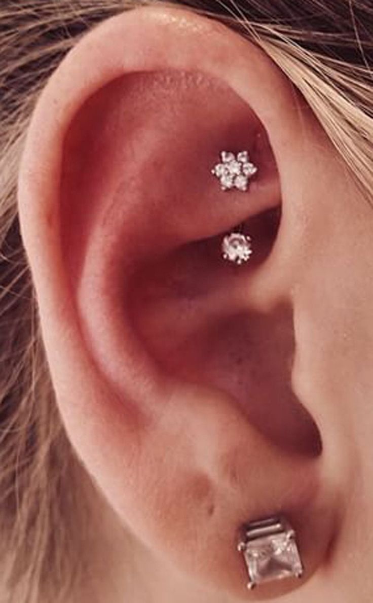 Crystal Flower Rook Piercing Jewelry Earring - Simple Minimal Ear Piercing Ideas at MyBodiArt.com