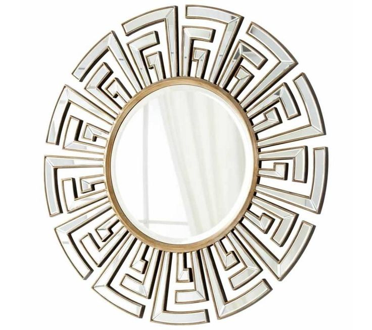 Home Decor :: Wall Decor :: Mirrors :: Egyptian Gold Accent Round Mirror - The ringed frame at the center of this Cleopatra Cyan Design wall mirror is complimented by inverted L shaped metal accenting. The frame also features geometrical pattern that jet outward in varied lengths, creating a softened starburst pattern. Gold finishing gives it a timeless look.
