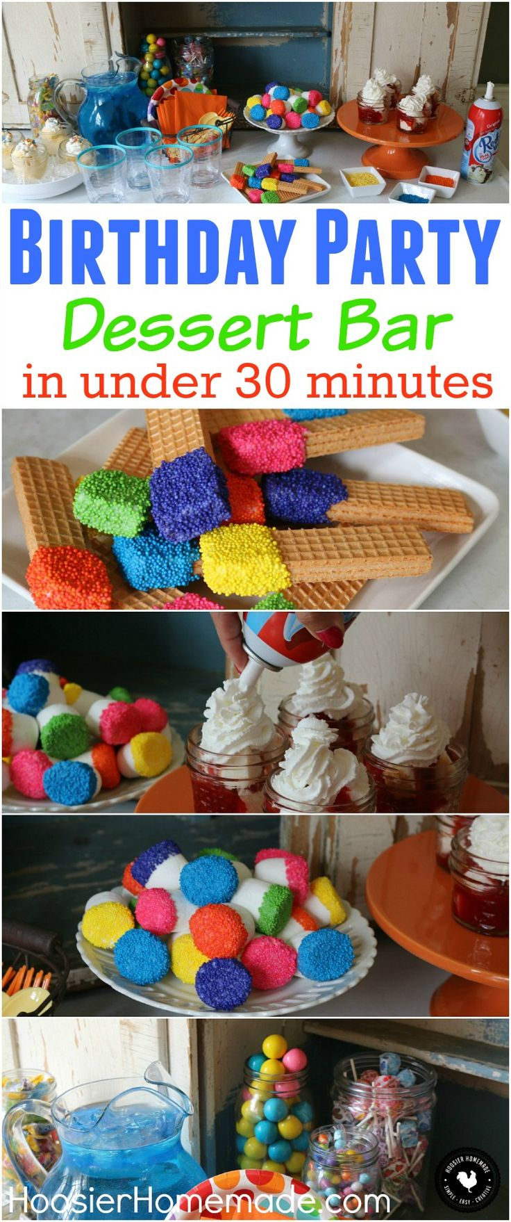 Put together this Easy Kid's Birthday Party in under 30 minutes! No Bake Treats, Marshmallows and Cookies with Sprinkles, Ice Cream, and lots of lots of Sprinkles! Learn how easy it is AND budget friendly! Be sure to pin to your Birthday Party Board to save it! #PartyReddi #ad