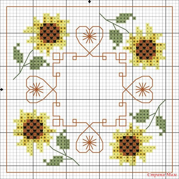 """Biscornu """"Tournesol"""" Sunflowers... no color chart available, just use the pattern chart as your color guide.."""