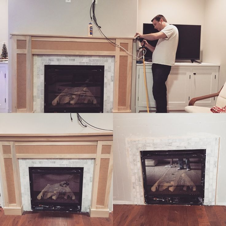 Custom White Shaker Style Cabinets And Fireplace Surround Corian Marble Facing Clean Lines