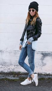 Converse All Stars + Leather = TOP #streetstyle #fashion #outfit