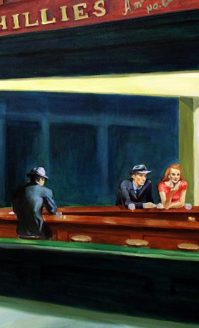 EDWARD HOPPER - NIGHTHAWKS. Hopper's most famous painting. It's at the Chicago Art Institute. One you really must see to appreciate!