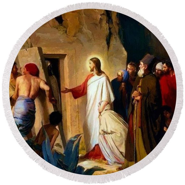 Raising Round Beach Towel featuring the painting Raising Of Lazarus 1870 by Bloch Carl