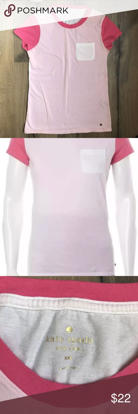 Kate Spade ♠️ Pink White Colorblock T Shirt XXS More stylish than a t shirt, the cool hues of this color block top with inspired by Neapolitan ice cream, one of our favorite sweet treats   Characteristics:  * Crew Neckline  * Short Sleeves  * Pullover Style  * Machine Wash Cold kate spade Tops Tees - Short Sleeve