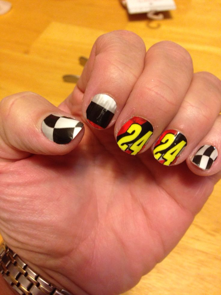 Nascar Jeff Gordon inspired jamberry nail wraps.  Http://jazzbell772.jamberrynails. - 27 Best Nascar Nails Images On Pinterest Nascar Nails, Manicures