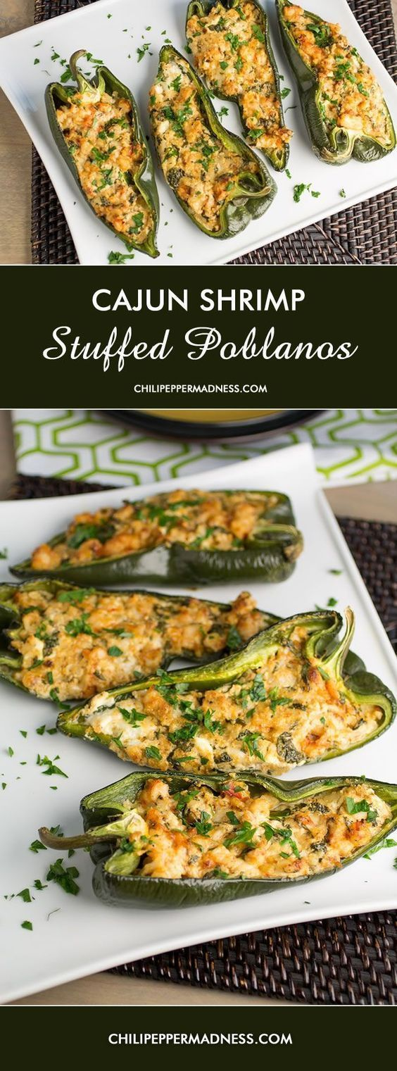 Cajun Stuffed Peppers. Poblano Chili Peppers stuffed with shrimp, goat cheese and Spanish Manchego cheese from http://ChiliPepperMadness.com