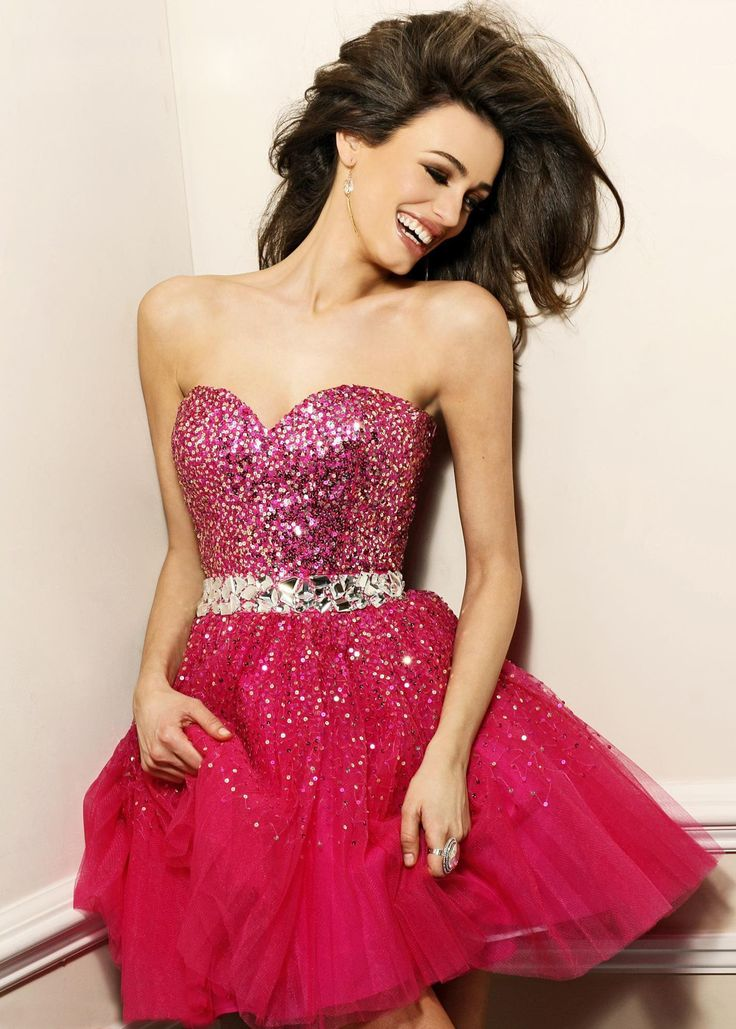 Sparkly Red Sequin Tight Top Short Homecoming Dress