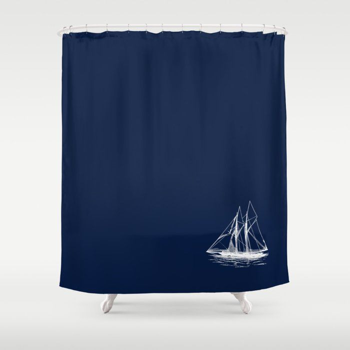Sailboat Nautical Sailing Boat In White And Navy Blue Shower