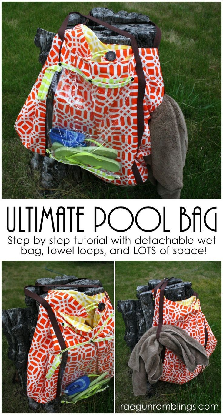Awesome giant pool bag with free sewing pattern and step by step instructions. Lots of space, loops for wet towels, a wet bag and more. Perfect for swimming and the beach.