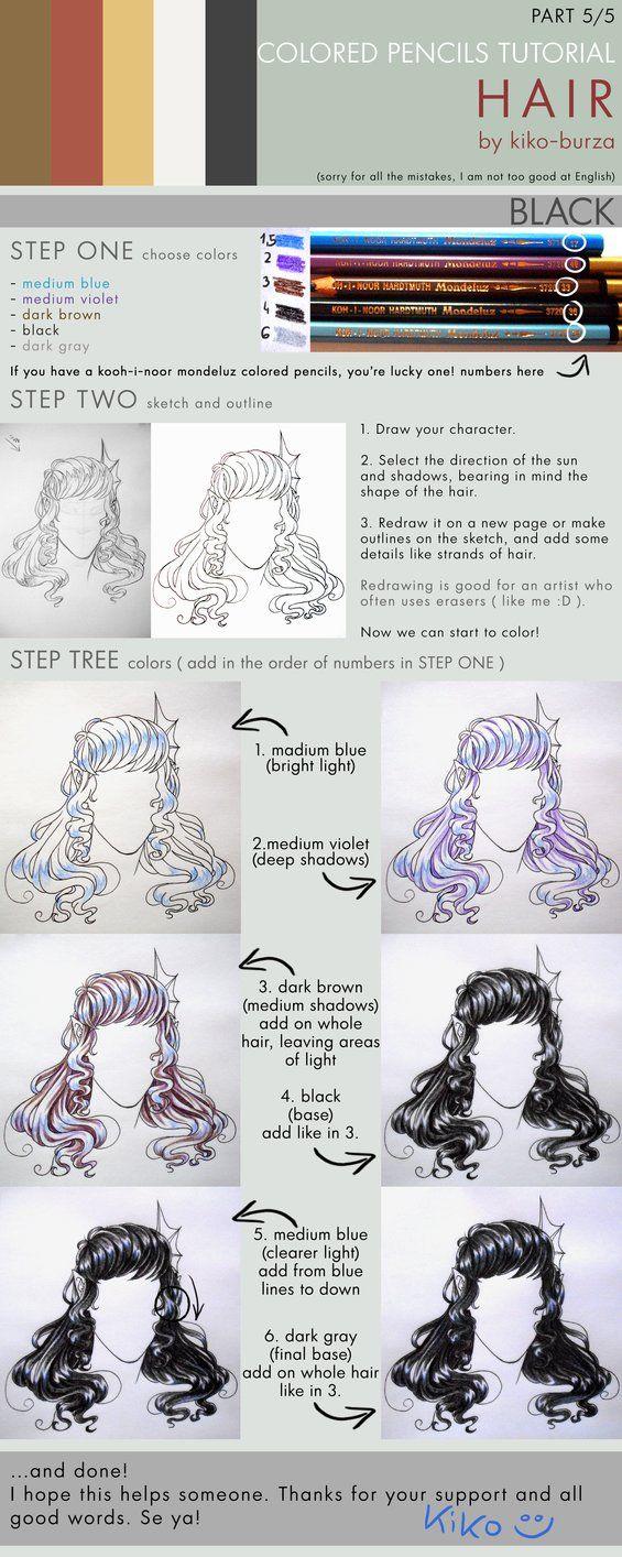 Colored pencils tutorial HAIR part 5 by kiko-burza on deviantART