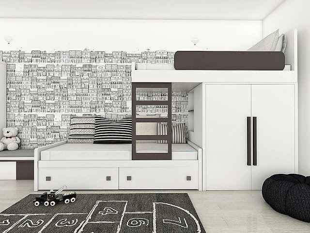 WHITE AND GRAPHITE BUNK BED WITH WARDROBE.   COLORATO: BIAŁO-GRAFITOWE ŁÓŻKO PIĘTROWE.  www.colorato.pl