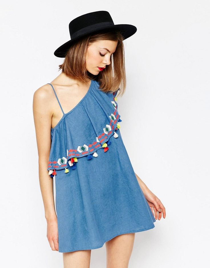 Image 1 ofPiper Java One Shoulder Ruffle Dress with Tassles in blue