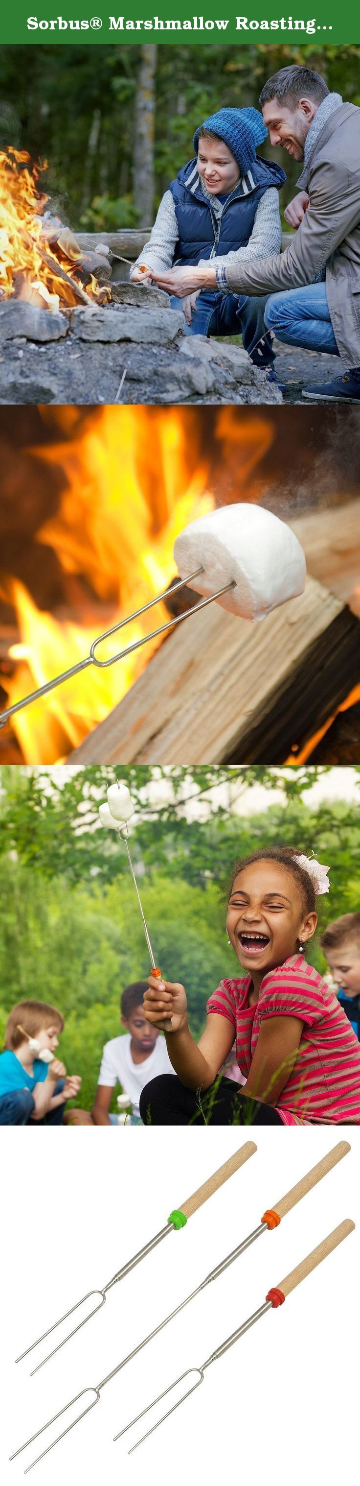 "Sorbus® Marshmallow Roasting Sticks Set - 8 Telescoping Forks and 10 Bamboo Skewers for Making S'mores, Hot Dogs, Camping, or Use as Kids Fireplace Accessory - Includes Canvas Travel Pouch for Travel. Get ready for the ultimate July 4th celebration with Sorbus® Marshmallow Roasting Sticks Set! This set is creatively designed for making s'mores, hot dogs, meat skewers, vegetable skewers, and other outdoor camping foods. It includes 8 telescoping forks that extend to 32.5"" which ensures you..."