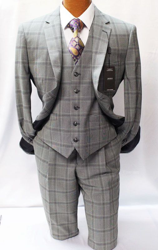 Big and Tall Angelo Rossi by Giorgio Cosani Gray Windowpane Suit Mens Suits #AngeloRossi #TwoButton