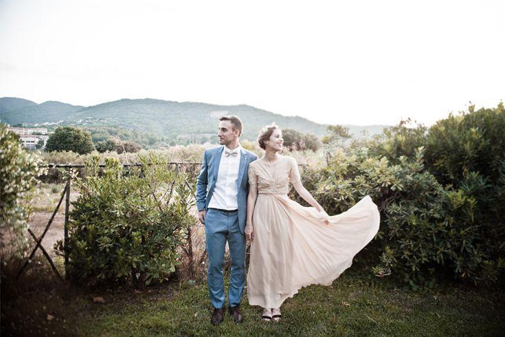 La boda de Dans Vogue novia vestido nude novia diferente
