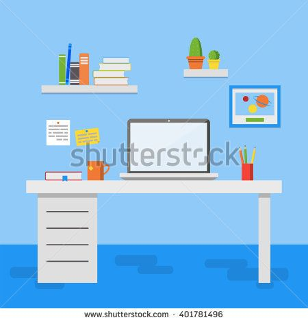 stock-vector-flat-design-vector-illustration-of-modern-office-interior-creative-office-workspace-with-computer-401781496.jpg (450×470)