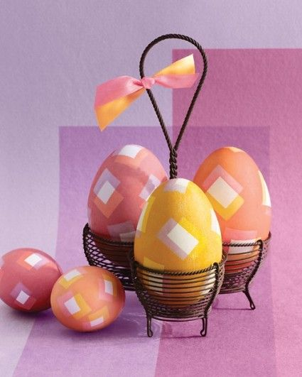 Decorate Easter Eggs by using Electrical Tape: Squares Patterns, Decor Ideas, Easter Decor, Martha Stewart, Geometric Design, Easter Eggs, Chicken Eggs, Eggs Decor, Easter Ideas
