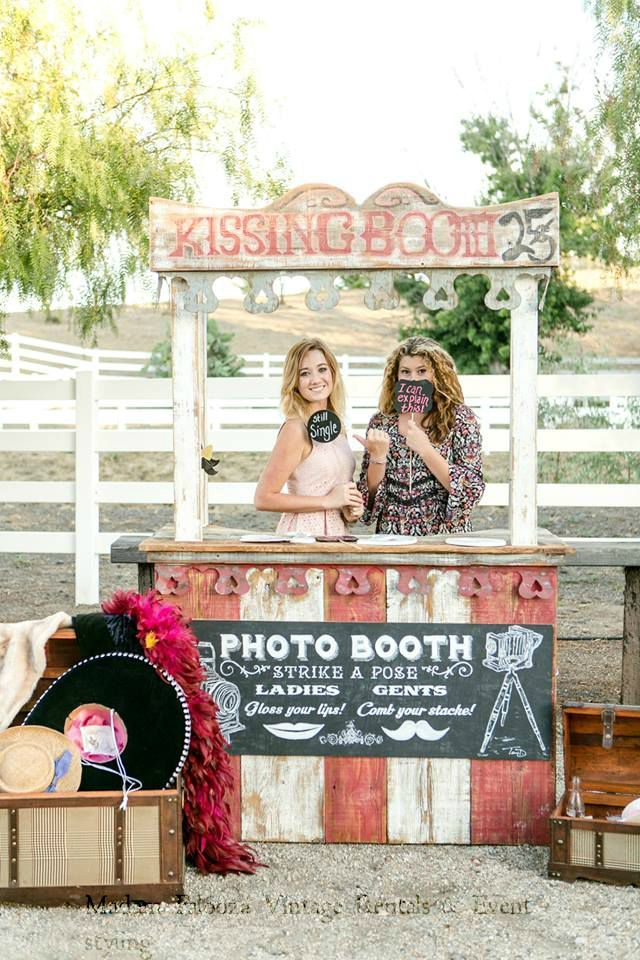 Our Kissing Booth was perfect for our client's carnival theme wedding and was a big attraction.  Rentals & Styling: Madam Palooza  Venue: Murrieta Equestrian Center  Photography: Leah Marie Photography