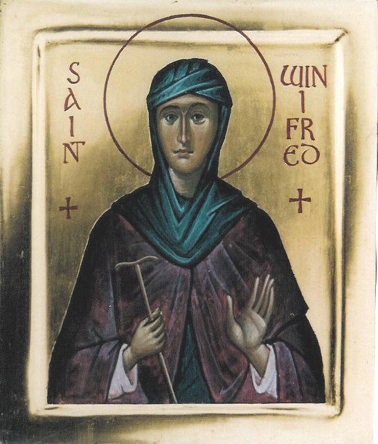 St. Winifrid (gold background) - Aidan Hart Sacred Icons