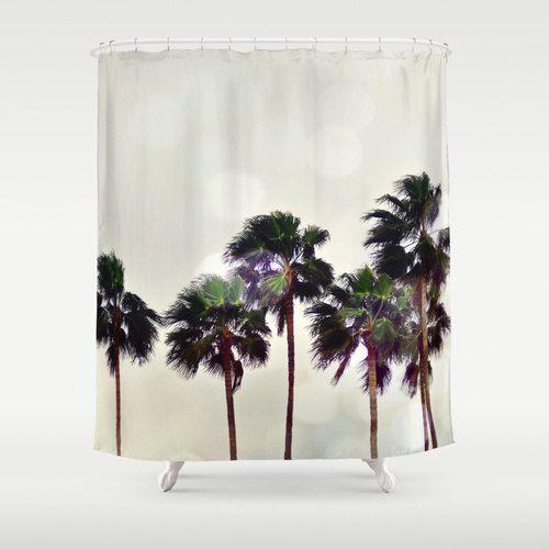 palm tree family shower curtain light gray beach surf bathroom decor coastal backdrop. Black Bedroom Furniture Sets. Home Design Ideas