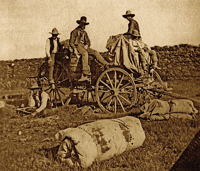 """Cowboys pose with a Hash Knife chuckwagon in this circa 1901 photograph.    Zane Grey's novel took place in 1889-1890.  (image courtesy Jan MacKell in """"The Last Hash Knife Cowboy"""")"""