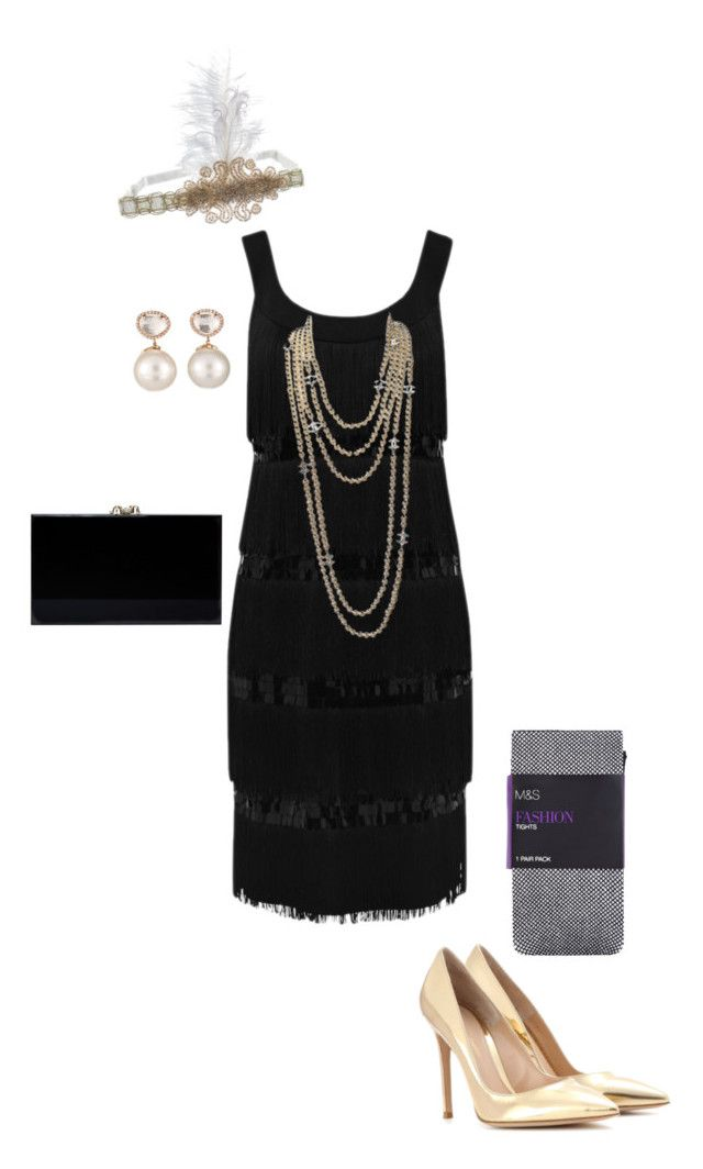 """""""DIY Flapper Halloween Costume"""" by collegelifestyles ❤ liked on Polyvore featuring Gianvito Rossi, M&Co, Chanel, Samira 13 and Charlotte Olympia"""