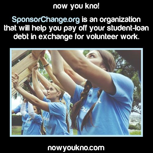 SponsorChange connects skill-based volunteers to non-profits and helps to reward their service with student loan pay raised from sponsors; helping those who give back, pay back. Link to service: http://sponsorchange.org/