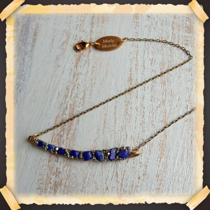 Summer and Chokers go really well together. Meet this Choker 13 in with a Horizontal Sword with Lapis Lazuli and Pyrite. #choker #summer #lapislazuli