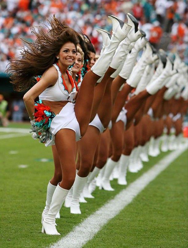 Cheerleaders uniforms with pantyhose