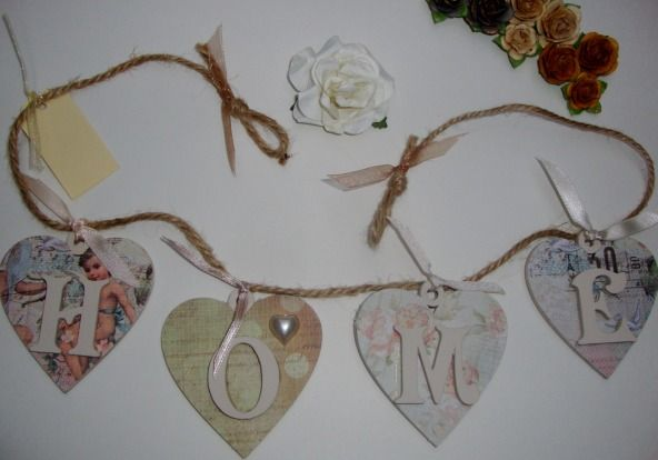 HOME bunting in Cherub themed vintage style paper. £10.50 + p&p.  Available from http://supermumscraftfair.co.uk/stalls/ditsy-decos/#.Ut5EthdFBMs