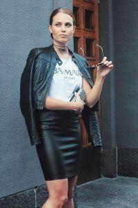 Balmain X H&M and Leather skirt