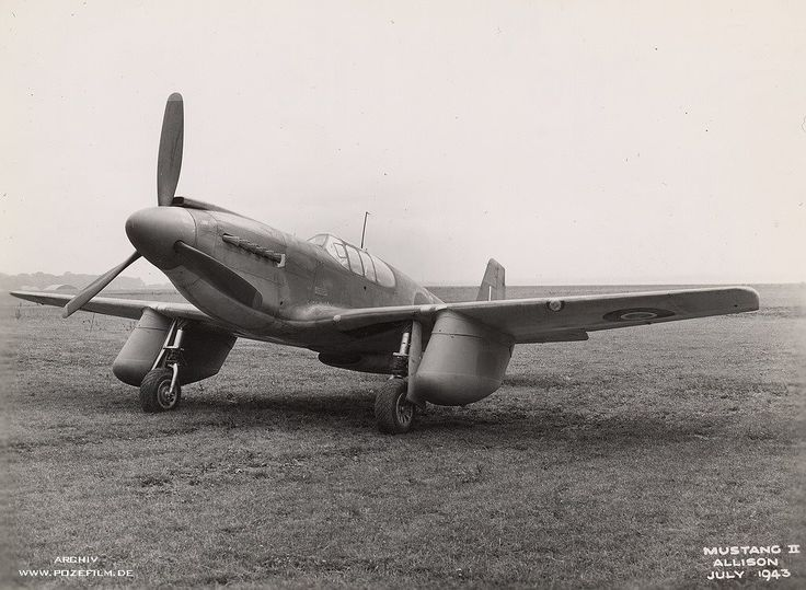 RAF Mustang II. with experimental 150 Gal. Ferry tanks.