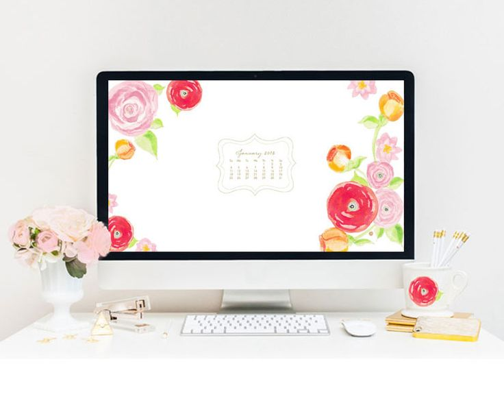 January Calendar Wallpaper Mac : Floral watercolor computer wallpaper with january