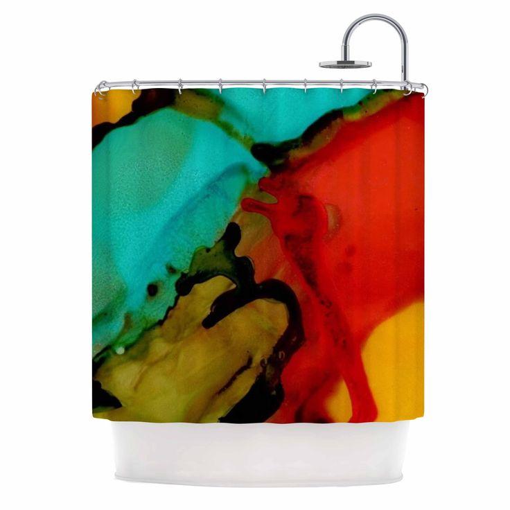 "Kess InHouse Anarchy Design ""Caldera #1"" Teal Red Shower Curtain"