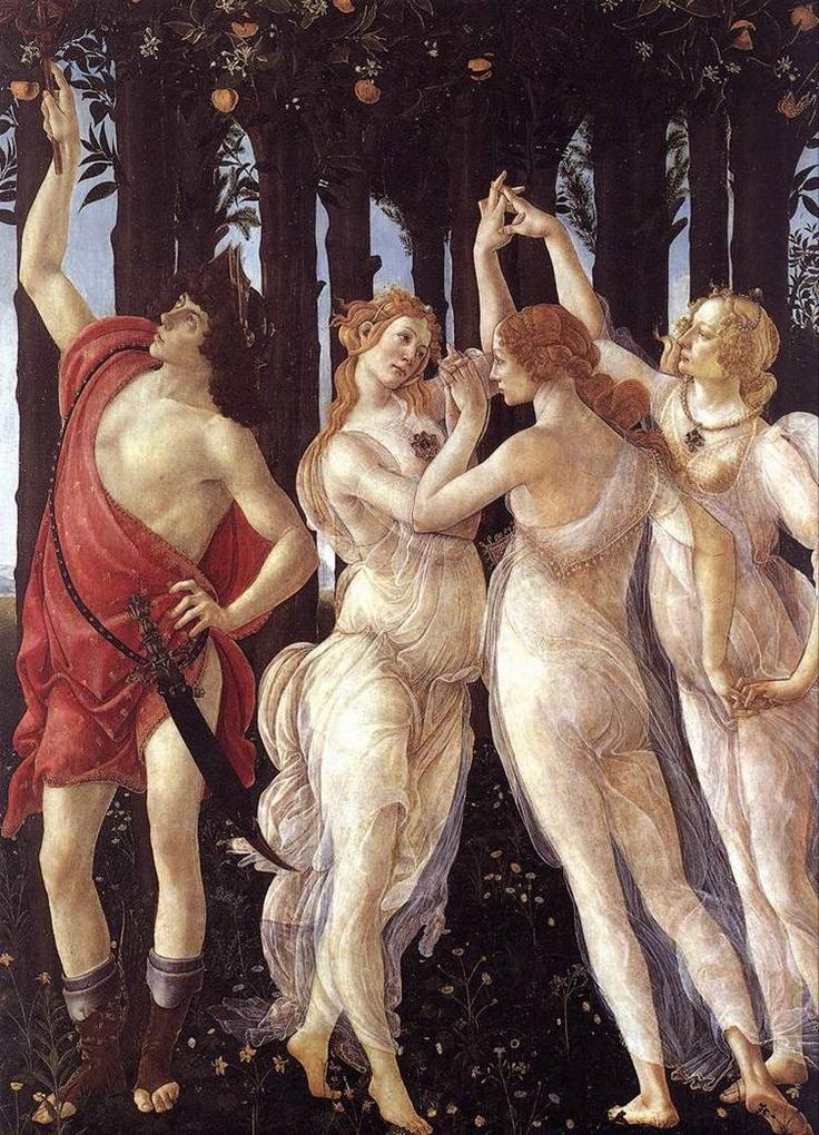 Primavera. Detalhe 2: As Graças e Mercúrio;  BOTTICELLI, Sandro;  Têmpera sobre madeira;  1482c.