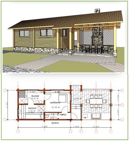 Проект бани с террасой: фото и примеры   Гостевой дом ...