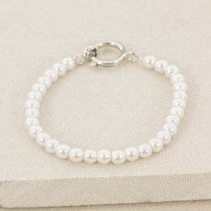 6mm Faux Pearl Toggle Stretch Bracelet