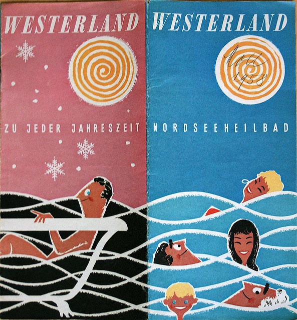 tourist information leaflet for Westerland, Germany, from 1958. via allerleirau
