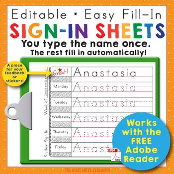 These beginning of the year print-practice sign in sheets will give your students practice writing their name, memorizing the days of the week, and counting. You can make a personalized sign-in sheet for every student in your class in minutes. Just type the student's name in any text field.
