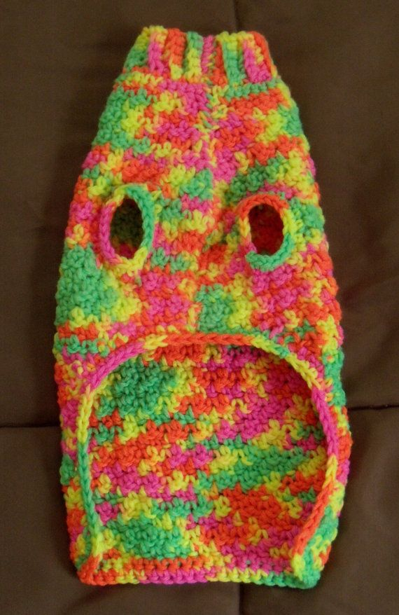Handmade Crocheted Dog Sweater Day Glow Neons by chiwawamom08