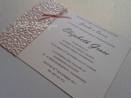 Baptism Invitation. Christening Invitation.   C6 flat card. Printed on arctic white metallic card featuring baby pink pebbles paper and bow. Comes with arctic white envelope. Minimum 20 cards. Quantity discounts apply.
