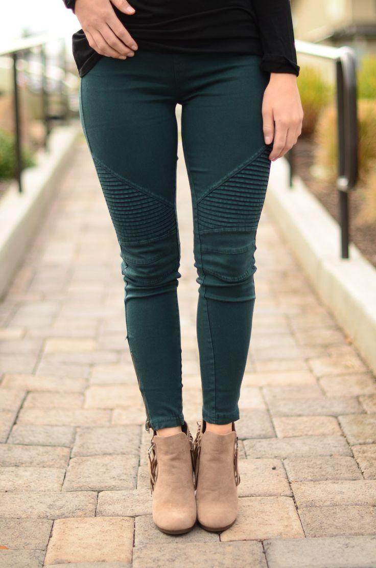Go For It Moto Pants- Emerald