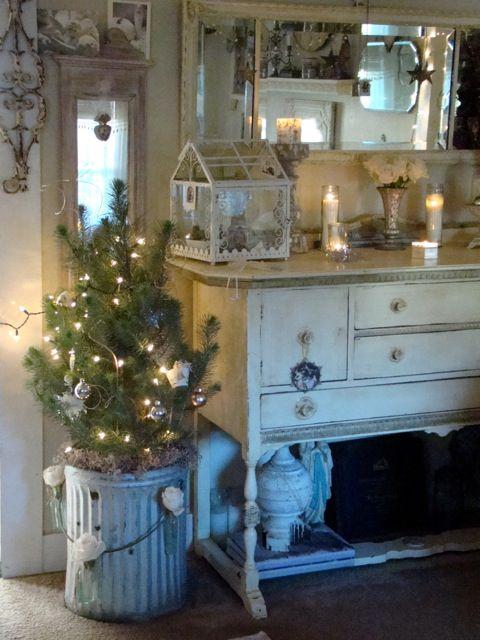 pretty little tree in a galvanized bucket: Christmasdecor, Shabby Chic Christmas, White Christmas, Holidays, Cottages Christmas, Christmas Trees Ideas, Country Christmas, Christmas Decor, Christmas Ideas